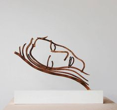 """Caroline Slapend 1993 """"Caroline Sleeping"""" , a portrait of the artists wife and the very first edition of his well-known """"standing drawings scu. Clothes Hanger, Modern Art, Portrait, Dutch, Artist, Home Decor, Gardens, Homemade Home Decor, Hangers"""