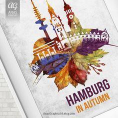 Hamburg in Autumn Herbst Hamburg Germany by AnasGraphicArt
