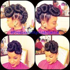 SimSim-Natural Hair Innovator @freelancestylistsimsim Instagram photos   Webstagram - the best Instagram viewer Natural Hair Updo, Natural Hair Styles, Hairdos, Updos, Protective Hairstyles For Natural Hair, Beautiful Buns, Black Girls, Wedding Hairstyles, Nature