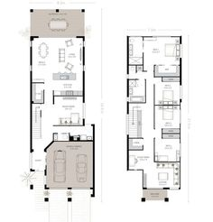 Two floor plan with garage, integrated kitchen and four bedrooms Narrow House Plans, Dream House Plans, Modern House Plans, Duplex Floor Plans, House Floor Plans, Plantas Duplex, House Plans Australia, Architectural Floor Plans, Townhouse Designs
