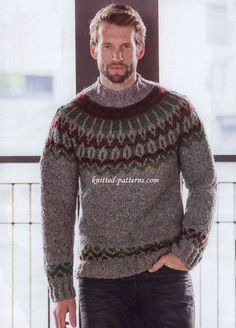 Inspired by the fifties: the pullover knit in gray tweed yarn, sports a Norwegian pattern yoke and mock turtleneck. Fair Isle Knitting Patterns, Sweater Knitting Patterns, Knitting Designs, Mens Knit Sweater Pattern, Jersey Jacquard, Pull Jacquard, Nordic Sweater, Men Sweater, Icelandic Sweaters