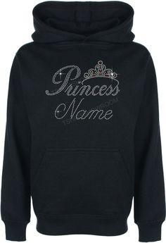 Personalised Princess Tiara Rhinestone/Diamante Hoodie - Pullover - Sweat Shirt #GuildenFDMFruitOfTheLoomorequivalent #Hoodie
