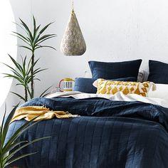 Navy Blue Bedding, Navy Bedding, Bedding Sets, Bedroom Color Schemes, Bedroom Colors, Bedroom Ideas, Blue Wall Colors, Navy Colour, Ethnic Bedroom