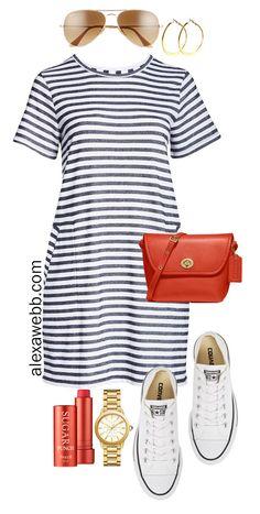 Plus Size Stripe T-Shirt Dress Outfits Alexa Webb Preppy Outfits Alexa Dress Outfits size Stripe TShirt Webb Adrette Outfits, Outfits With Converse, Summer Dress Outfits, Preppy Outfits, Casual Summer Dresses, Spring Outfits, Fashion Outfits, Converse Sneakers, Casual Sneakers