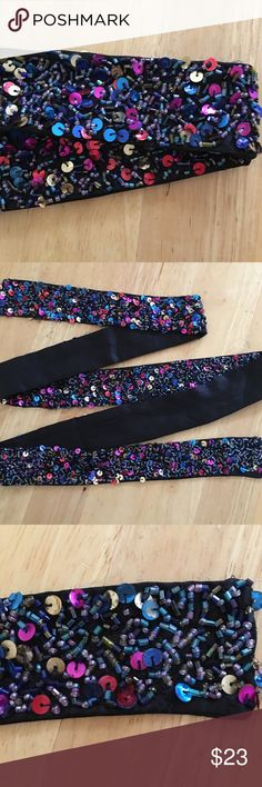 Vintage Hand Beaded & Satin Sash Multi-Color Beads & Sequins adorn this Vintage Handmade Black Satin Sash. Very versatile! Can be worn multiple ways to add color and style to any outfit. Vintage Accessories Belts