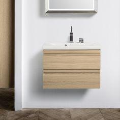 Tammensävyiset kylpyhuonekalusteet ovat luonnollinen ja ajaton valinta. Allaskaappi: Dansani Zaro, väri Driftwood │ Laattapiste