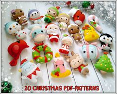 This is the Set of 20 Christmas Digital patterns from felt. ★★★SPECIAL OFFER★★★ Buying a set you save 15% (the discount is already included in the price). You can see each ornament closer or buy them separately here -