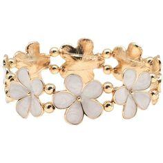 M&Co Enamel Flower Bracelet (36 PEN) ❤ liked on Polyvore featuring jewelry, bracelets, ivory, flower jewelry, ivory bangles, flower jewellery, beaded bangles and beading jewelry