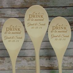 Our Eat Drink & Be Married wooden spoon is a fun wedding favor your guests will love to use. It also makes a fun tea party or bridal shower