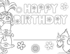 Trolls Party | Trolls Party | Birthday coloring pages ...