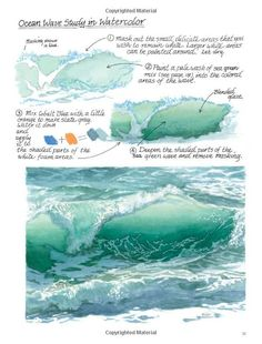 Wave study by Claudia Nice from her book: Down by the Sea with Brush and Pen: Draw and Paint Beautiful Coastal Scenes: