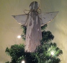 Rustic Angel Christmas Tree Topper Decoration made from reclaimed wood by KentuckyReclaimed on Etsy https://www.etsy.com/listing/170645651/rustic-angel-christmas-tree-topper