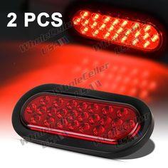"6"" 24 LED Stop/Turn/Tail Light w/Grommet Waterproof Oval Red truck trailer Set 2 #Aftermarket"