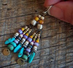 RESERVEDTurquoise Glass and African Beaded Earrings by yuccabloom