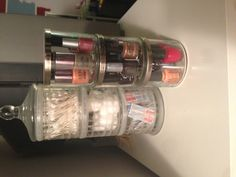 Nail polish holder/organizer from 3 wick candle jars! Up-cycle! Modern Bathrooms Interior, Modern Bedroom Decor, Modern Bathroom Design, Bathroom Cleaning Hacks, Bathroom Organization, Organization Ideas, Girls Bedroom Colors, Bathroom Inspiration, Garden Inspiration