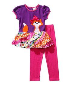 Another great find on #zulily! Purple Fox Ruffle Tunic & Leggings - Toddler & Girls #zulilyfinds