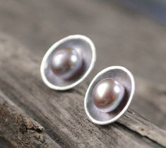 Handmade Sterling Silver Natural Pearl Earring, Pearl Ear Studs, Teenage, Valentine, Bridemaid, Bridal, Wedding, Gift #handmade #etsyretwt