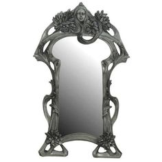 NOUVEAU-LADY-FLOWER-DESIGN-ORNATE-MIRROR-46CM-RESIN-PEWTER-FINISH
