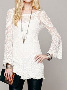 Finally Found a White Lace See-through Long Trumpet Sleeves Lace Dress or Tunic. Love the idea of wearing this over Black Skinny Jeans I have! White Fashion, Love Fashion, Girl Fashion, Fashion Outfits, Womens Fashion, Style Fashion, White Outfits, Cool Outfits, Couture Fashion