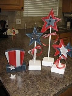 Wood Patriotic Stars, Patriotic & 4th of July Crafts (sorry, no link)