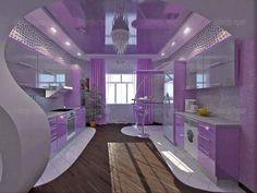 Kitchen Room Design, Modern Kitchen Design, Home Decor Kitchen, Interior Design Kitchen, Interior Decorating, Beautiful Kitchen Designs, Beautiful Kitchens, Purple Kitchen Cabinets, Red Bedroom Decor