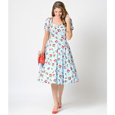 1950s Light Blue Floral Cherry Blindside Short Sleeve Swing Dress ($98) ❤ liked on Polyvore featuring dresses, light blue, white short sleeve dress, light blue dress, white dress, floral print dress and retro dress