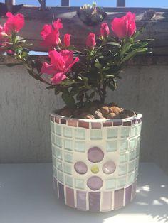 Cachepô com mosaico e azaleia!