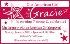 American Girl Inspired Birthday Invitation by ASweetLifeDesigns