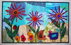 "Whimsical ART Quilt Wall Hanging Fun Colorful Cute Chickens Moda Batik Fabric "" HIP CHICKS """