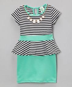Look what I found on #zulily! Mint Stripe Peplum Dress - Toddler & Girls #zulilyfinds