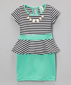 Look what I found on #zulily! Mint Stripe Peplum Dress - Toddler & Girls #zulilyfinds