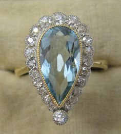 Aquamarine & Diamond Cluster Ring   Antique Jewellery (Antique Jewelry)   Antique Engagement Rings   Friar House, Battle, East Sussex, UK