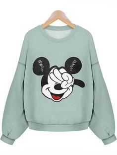 Mickey Print Loose Green Sweatshirt