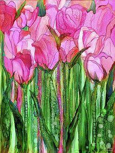 Alcohol Ink Mixed Media - Tulip Bloomies 1 - Pink by Carol Cavalaris