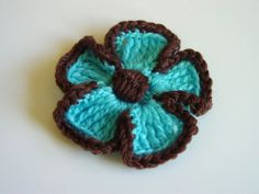 Turquoise with Brown Crochet Flower!