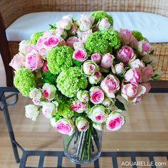 Superbe bouquet de roses Mimi Eden et boules de viburnum par Aquarelle.com !