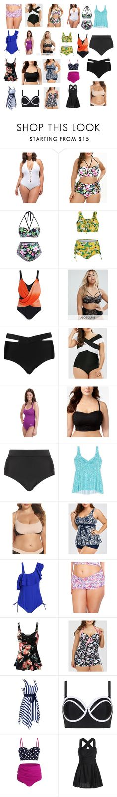 """""""a bevy of bathing beauties"""" by cassandra-beauchamp on Polyvore featuring Ashley Graham, ASOS Curve, Cactus, Dolfin, Becca Etc., Lands' End, Only Hearts, Doublju and plus size clothing"""