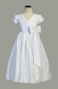 SK_331 - Communion/Flower Girl Dress Style 331 - Simply Stunning Crossover Style Satin Dress - First Communion Dresses - Flower Girl Dress For Less