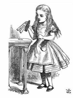 テーブルの瓶とアリスの塗り絵のイラスト、原画