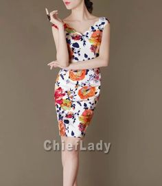 Chieflady Floral Printing Dress Elegant Summer/Autumn by Chieflady, $95.00