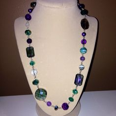 Beaded Necklace in Purples & Greens on Etsy, $26.99
