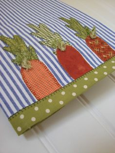 Tea Towel A Trio of Carrot Tops Tea Towel by TwoGirlsLaughing Dish Towel Crafts, Dish Towels, Tea Towels, Hand Towels, Fabric Crafts, Sewing Crafts, Sewing Projects, Applique Towels, Craft Ideas