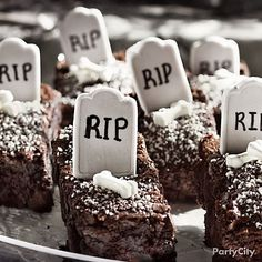 Find Halloween decorations for your party or yard. Shop for scary outdoor decorations, kid-friendly decorations, and complete Halloween party supplies. Halloween Candy Buffet, Halloween Goodies, Halloween Desserts, Holidays Halloween, Halloween Treats, Happy Halloween, Halloween Brownies, Halloween Graveyard, Holiday Treats