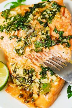 Cilantro-Lime Honey Garlic Salmon (baked in foil) ~ a super easy recipe...cilantro, freshly squeezed lime, combined with honey and garlic creates a really winning combination of flavors!
