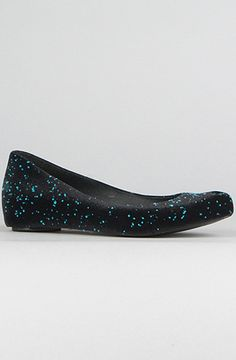 Melissa Shoes  The Ultragirl Flocked in Black and Blue Flaked
