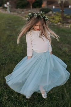The littlest member of your bridal party will be adorable in any one of these fall flower girl dresses. Click through to shop. Flower Girl Outfits, Wedding Flower Girl Dresses, Bridal Dresses, Flower Girls, Girls Fall Dresses, Girls Blue Dress, Girls Tulle Skirt, Tulle Dress, Tulle Skirts