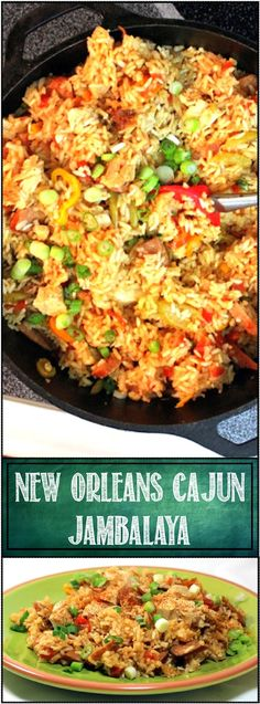 New Orleans Cajun Jambalaya... Recipe adapted from a New Orleans Cooking School, LOADED with meat and Cajun Veggies and spices. This version also adds Tomatoes and Tomato Juice to add even more layers of CAJUN SPICY FLAVORS and COLORS! AUTHENTIC, Classic and EASY RECIPE!!!