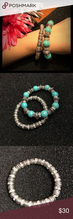 Turquoise Silver &a Crystal Bead Bracelet Set 2 GORGEOUS stretch Bracelets! One is faux turquoise and silver beads. The other is silver and crystal beads.  I have a ring listed that matches beautifully with the silver and crystal bracelet! T&J Designs Jewelry Bracelets