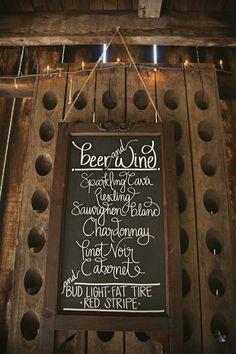 Chalk board drink menu (diy with chalkboard paint & frame).