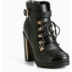 Torrid Lace Up Combat Metal Heel Boots (Wide Width) ($70) ❤ liked on Polyvore featuring shoes, boots, ankle booties, black, black lace-up boots, black platform booties, heeled combat boots, lace up booties and black booties